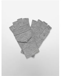 Calvin Klein | Gray White Label Lurex Convertible Mittens | Lyst