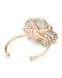 Nina Runsdorf | Metallic White And Cognac Diamond Flower Cuff Bracelet | Lyst