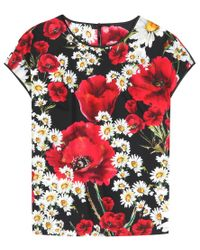 Dolce & Gabbana | Multicolor Floral-printed Cotton And Silk T-shirt | Lyst