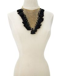 Forever 21 | Metallic Stacked Chain Tassel Statement Necklace | Lyst
