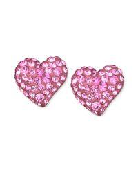 Swarovski | Pink Rhodium-plated Rose Crystal Heart Stud Earrings | Lyst