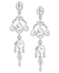 Swarovski - Metallic Rhodium-plated Crystal Drop Earrings - Lyst