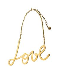 Lanvin | Metallic Golden Kiss Pendant Necklace | Lyst