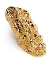 Givenchy - Metallic Crocodile Effect Brass Ring - Lyst