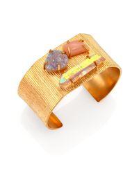 Kelly Wearstler | Metallic Honolua Peach Moonstone, Druzy & Crystal Cuff Bracelet | Lyst