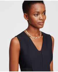 Ann Taylor | Metallic Scattered Stone Chain Necklace | Lyst