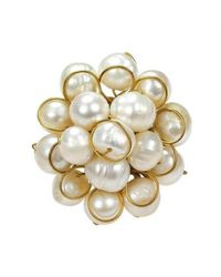 Aeravida | Metallic Unique Round Front Cluster White Pearl Organic Ring | Lyst