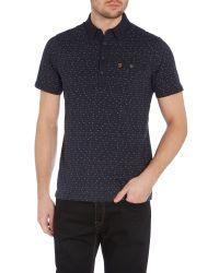Farah - Blue Bentley Regular Fit Spot Stripe Polo Shirt for Men - Lyst