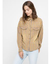 Mango - Yellow Check Cotton Shirt - Lyst