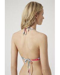 TOPSHOP - Multicolor Pop Floral Plunge Bikini Top - Lyst