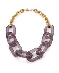 Kenneth Jay Lane - Metallic Translucent Link Statement Necklace - Lyst