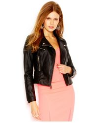Guess - Black Pebbled Faux-Leather Moto Jacket - Lyst