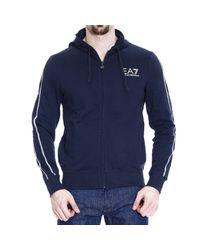 Giorgio Armani | Blue Sweater Sweatshirt Zip With Hood And Logo for Men | Lyst