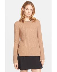 Vince | Brown Directional Ribbed Boatneck Sweater | Lyst