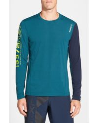 Reebok - Blue 'one Series Breeze' Long Sleeve Playice Graphic T-shirt for Men - Lyst