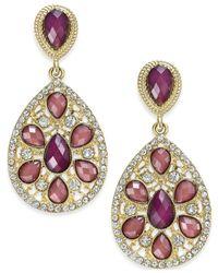 INC International Concepts | Purple Gold-tone Mauvé Stone Teardrop Earrings | Lyst