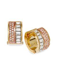 Michael Kors | Metallic Gold-Tone Baguette Pave Barrel Huggie Hoop Earrings | Lyst