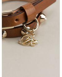 DSquared² - Brown Studded Wraparound Bracelet - Lyst