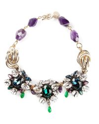 Anton Heunis | Multicolor Triple Floral Crystal Necklace | Lyst