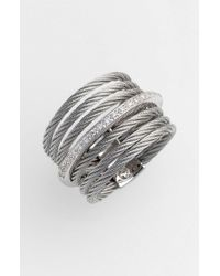 Alor | Gray 7-row Cable & Diamond Ring | Lyst