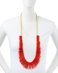 Kenneth Jay Lane | Red Graduated Spike Bib Necklace Coral | Lyst