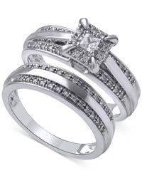 Beautiful Beginnings | Metallic Diamond Halo Engagement Ring Set In 14k White Gold (1/3 Ct. T.w.) | Lyst