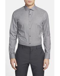Calibrate - Gray Trim Fit Gingham Sport Shirt for Men - Lyst