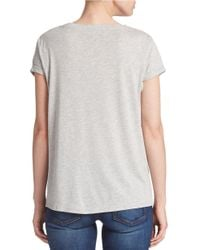 Guess - Gray Embellished Peek-through Tee - Lyst