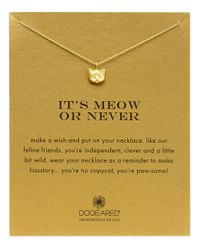 Dogeared | Metallic Reminders Meow Or Never Sterling Silver Pendant Necklace | Lyst