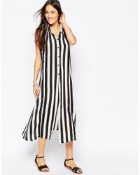 Liquorish - Black Maxi Shirt Dress In Mono Stripe - Lyst