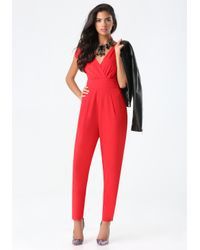 Bebe - Red Petite Emma Bow Jumpsuit - Lyst