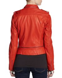 Doma Leather - Red Convertible Leather Jacket - Lyst