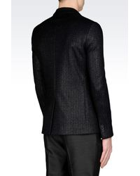Emporio Armani - Black Jacket In Raffia Mesh for Men - Lyst