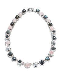Eddie Borgo | Metallic Collage Hematite & Rose Quartz Cabochon Necklace | Lyst