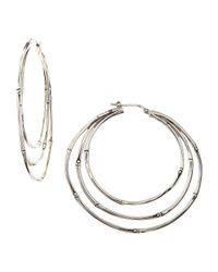 John Hardy | Metallic Bamboo Silver Large Orbital Hoop Earrings | Lyst
