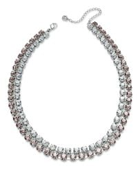 Swarovski - Pink Swarovksi Necklace, Rhodium-Plated Rose And Clear Crystal Two-Row Collar Necklace - Lyst