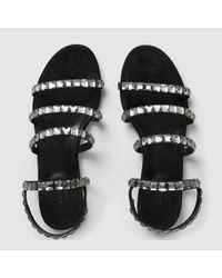 Gucci - Black Mallory Crystal Suede Sandal - Lyst