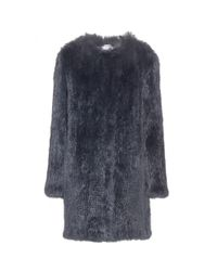 Meteo by Yves Salomon | Gray Collarless Fur Coat | Lyst