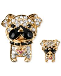 Betsey Johnson | Metallic Gold-Tone Crystal Accent Bull Dog Pin Set | Lyst