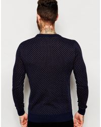 SELECTED | Blue Knitted Jumper With All Over Pattern for Men | Lyst