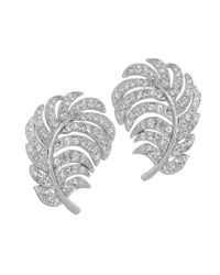 Kenneth Jay Lane | Metallic Crystal Feather Clip Earring | Lyst