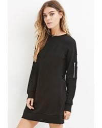 Forever 21 - Black Longline French Terry Pullover You've Been Added To The Waitlist - Lyst