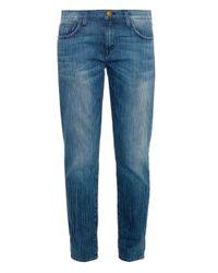 Current/Elliott - Blue The Fling Boyfriend Mid-Rise Stretch-Denim Jeans - Lyst