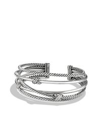 David Yurman | Metallic X Crossover Cuff With Diamonds | Lyst