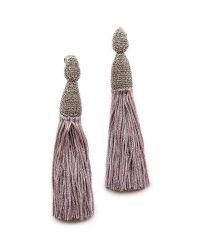 Oscar de la Renta | Gray Chain & Silk Tassel Earrings - Smoke | Lyst
