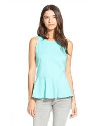 Hinge | Blue Sleeveless Peplum Hem Top | Lyst