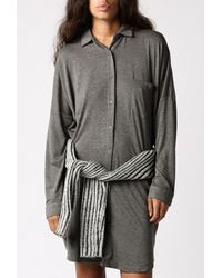 Blq Basiq | Gray Button Down L/s Dress | Lyst