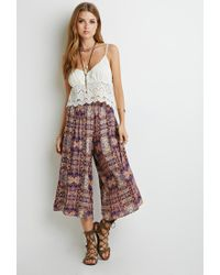 Forever 21 - Orange Kaleidoscope Print Culottes - Lyst