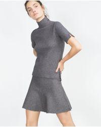 Zara | Gray Funnel Collar Top | Lyst
