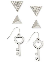 Guess - Metallic Silver-tone Earring Set - Lyst